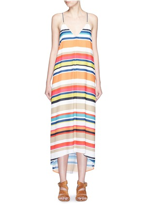 首图 - 点击放大 - ALICE + OLIVIA - CORTES多彩条纹Y字背连衣裙