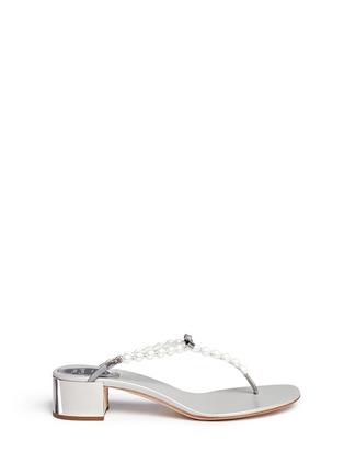 首图 - 点击放大 - RENÉ CAOVILLA - 人造珍珠夹脚粗跟凉鞋