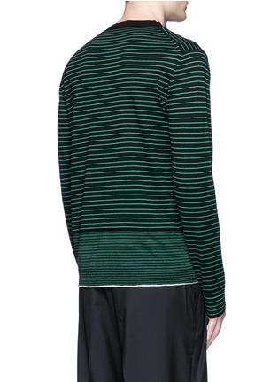 背面 - 点击放大 - LANVIN - 条纹美利奴羊毛针织衫