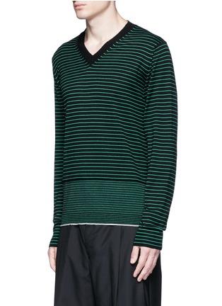 正面 -点击放大 - LANVIN - 条纹美利奴羊毛针织衫