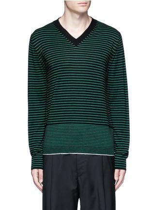 首图 - 点击放大 - LANVIN - 条纹美利奴羊毛针织衫