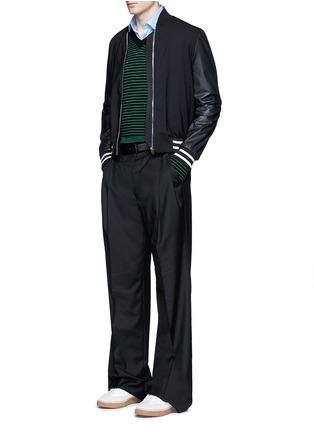 模特儿示范图 - 点击放大 - LANVIN - 条纹美利奴羊毛针织衫