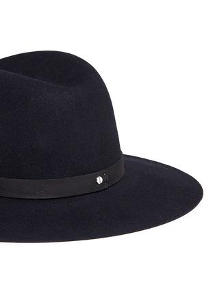 细节 - 点击放大 - JANESSA LEONE - ILA皮革帽带羊毛毡宽檐帽