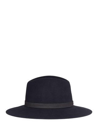 模特儿示范图 - 点击放大 - JANESSA LEONE - ILA皮革帽带羊毛毡宽檐帽