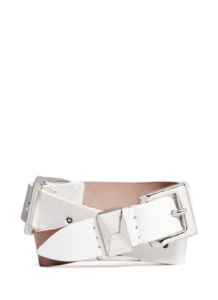 背面 - 点击放大 - Alexander McQueen - Three buckle double wrap skull leather bracelet