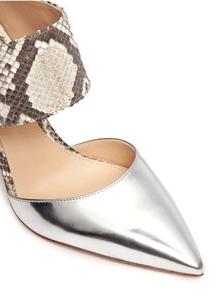 细节 - 点击放大 - GIANVITO ROSSI - Mirror leather python mules