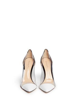 模特示范图 - 点击放大 - GIANVITO ROSSI - 漆皮透明拼接尖头高跟鞋