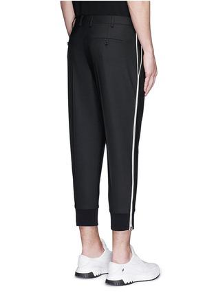 背面 - 点击放大 - NEIL BARRETT - 条纹拼接混羊毛七分裤