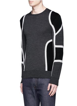 正面 -点击放大 - NEIL BARRETT - 拼色条纹美利奴羊毛针织衫