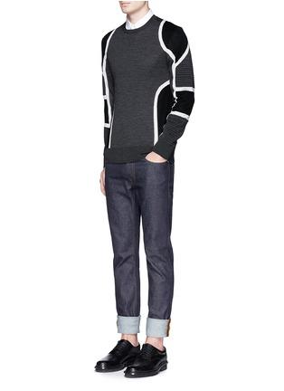 模特儿示范图 - 点击放大 - NEIL BARRETT - 拼色条纹美利奴羊毛针织衫