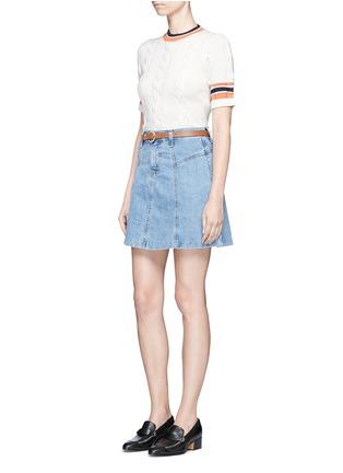 模特示范图 - 点击放大 - CURRENT/ELLIOTT - 水洗混棉丹宁半身裙