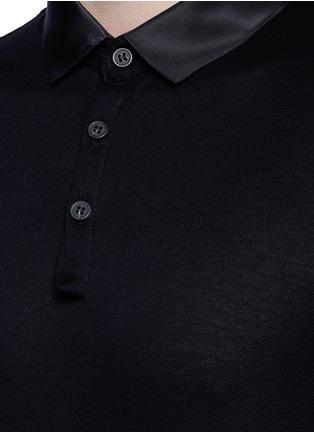 细节 - 点击放大 - LANVIN - 缎面翻领单色纯棉polo衫