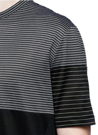 细节 - 点击放大 - LANVIN - 条纹拼接纯棉T恤