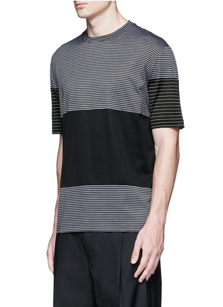 正面 -点击放大 - LANVIN - 条纹拼接纯棉T恤