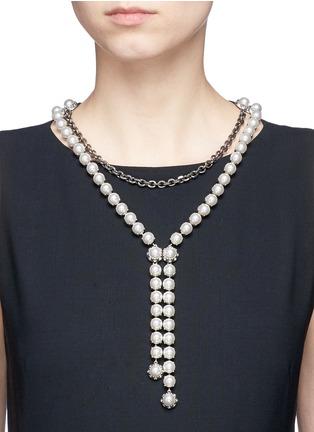 模特示范图 - 点击放大 - LANVIN - 垂坠设计人造珍珠罗缎项链
