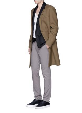 模特儿示范图 - 点击放大 - LANVIN - 长款拼色羊毛大衣