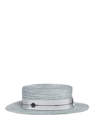 模特儿示范图 - 点击放大 - MAISON MICHEL - Kiki帽带装饰编织平顶硬草帽