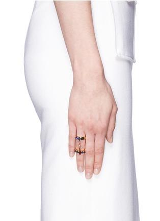 模特示范图 - 点击放大 - ERICKSON BEAMON - 多彩仿水晶双圈戒指