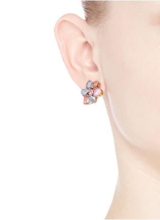 模特示范图 - 点击放大 - ERICKSON BEAMON - 花卉造型仿水晶耳环