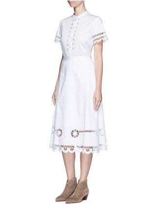 模特儿示范图 - 点击放大 - TEMPERLEY LONDON - BELLANCA刺绣镂空纯棉半身裙