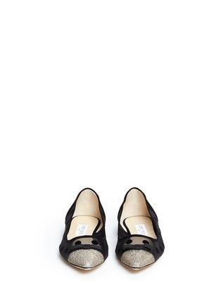 正面 -点击放大 - JIMMY CHOO - DOROTHY植绒波点网状尖头平底鞋