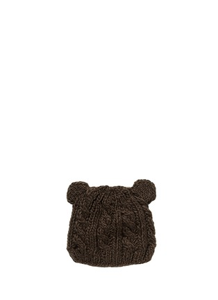 模特示范图 - 点击放大 - THE BLUEBERRY HILL - 'Julian' bear cable knit kids beanie