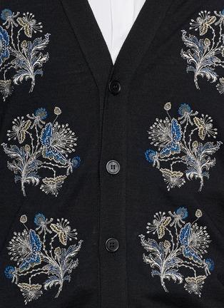 细节 - 点击放大 - ALEXANDER MCQUEEN - 花卉刺绣针织开衫