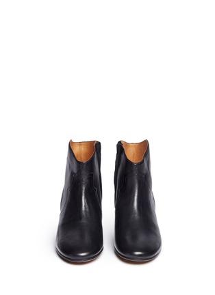 正面 -点击放大 - ISABEL MARANT ÉTOILE - 真皮粗跟及踝靴