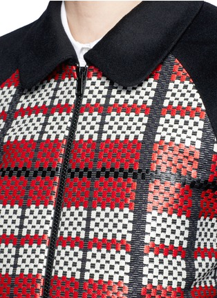 细节 - 点击放大 - CYNTHIA & XIAO - 编织格纹拼接混羊毛夹克