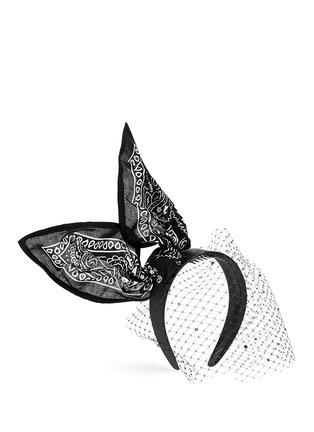 模特儿示范图 - 点击放大 - PIERS ATKINSON - 印花手帕蝴蝶结网眼装饰发箍