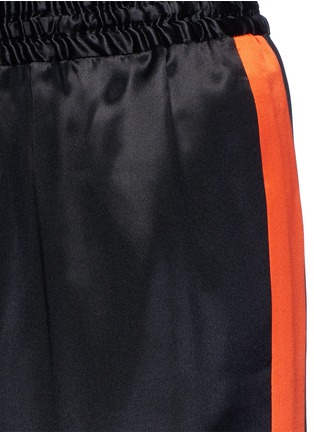 细节 - 点击放大 - GIVENCHY - 条纹拼接缎面真丝休闲长裤
