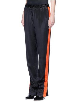 正面 - 点击放大 - GIVENCHY - 条纹拼接缎面真丝休闲长裤