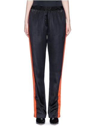 首图 - 点击放大 - GIVENCHY - 条纹拼接缎面真丝休闲长裤