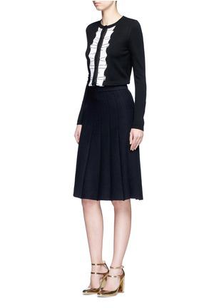 模特儿示范图 - 点击放大 - alice + olivia - AVI波浪条纹亮片针织外套