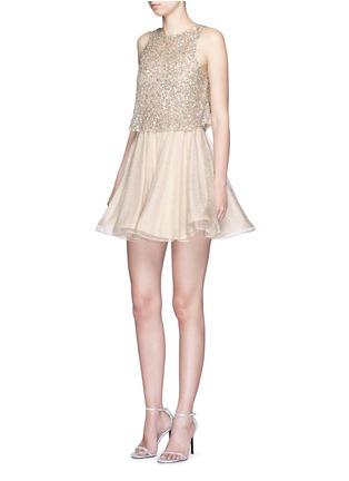 模特示范图 - 点击放大 - ALICE + OLIVIA - HILTA亮片喇叭连衣裙