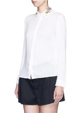 正面 -点击放大 - alice + olivia - 花卉刺绣衣领绉绸衬衫