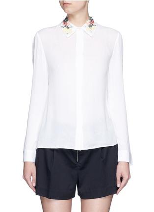 首图 - 点击放大 - ALICE + OLIVIA - 花卉刺绣衣领绉绸衬衫
