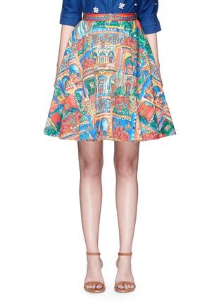 首图 - 点击放大 - ALICE + OLIVIA - EARLA风景印花褶裥半身裙