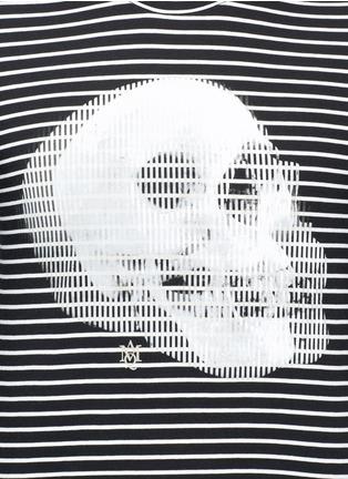 细节 - 点击放大 - ALEXANDER MCQUEEN - 双影骷髅头图案纯棉条纹长袖T恤