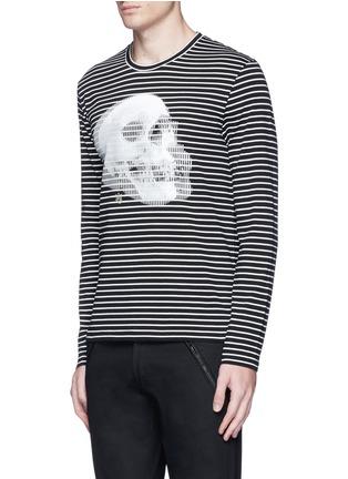 正面 -点击放大 - ALEXANDER MCQUEEN - 双影骷髅头图案纯棉条纹长袖T恤