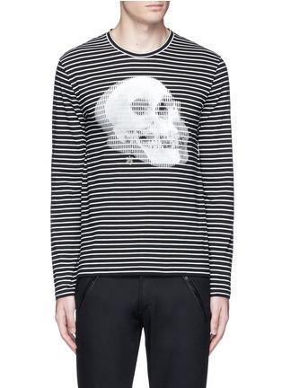 首图 - 点击放大 - ALEXANDER MCQUEEN - 双影骷髅头图案纯棉条纹长袖T恤