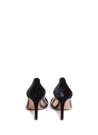背面 - 点击放大 - GIANVITO ROSSI - Plexi 85 PVC拼接天鹅绒高跟鞋