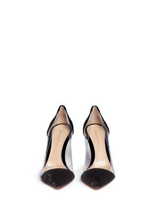 正面 - 点击放大 - GIANVITO ROSSI - Plexi 85 PVC拼接天鹅绒高跟鞋