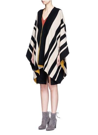 正面 - 点击放大 - ALICE + OLIVIA - MINKA条纹羊毛斗篷
