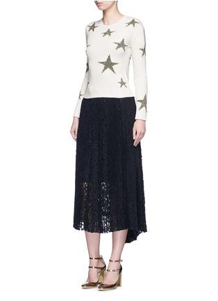 模特儿示范图 - 点击放大 - Valentino - 五角星嵌花羊绒针织衫