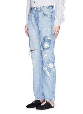 正面 -点击放大 - RIALTO JEAN PROJECT - 心形拼贴雏菊图案BOYFRIEND款牛仔裤