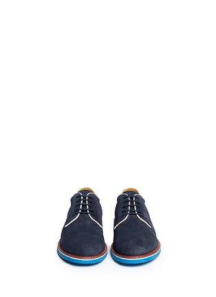 模特示范图 - 点击放大 - ARMANI COLLEZIONI - 真皮拼色系带鞋