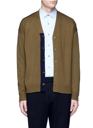 细节 - 点击放大 - TOMORROWLAND - 拼色混羊毛针织外套