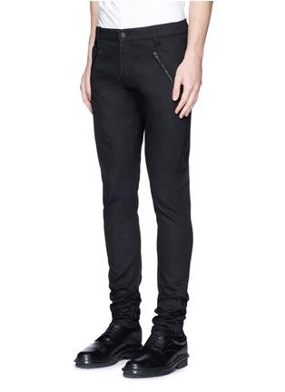 正面 -点击放大 - Alexander McQueen - 拉链皮革装饰棉质长裤