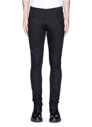 首图 - 点击放大 - Alexander McQueen - 拉链皮革装饰棉质长裤